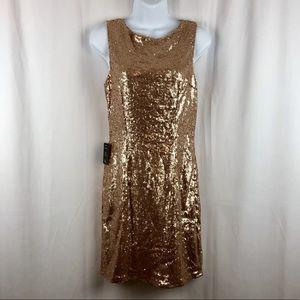 Lulu' gold sequin cowl back mini dress NWT M